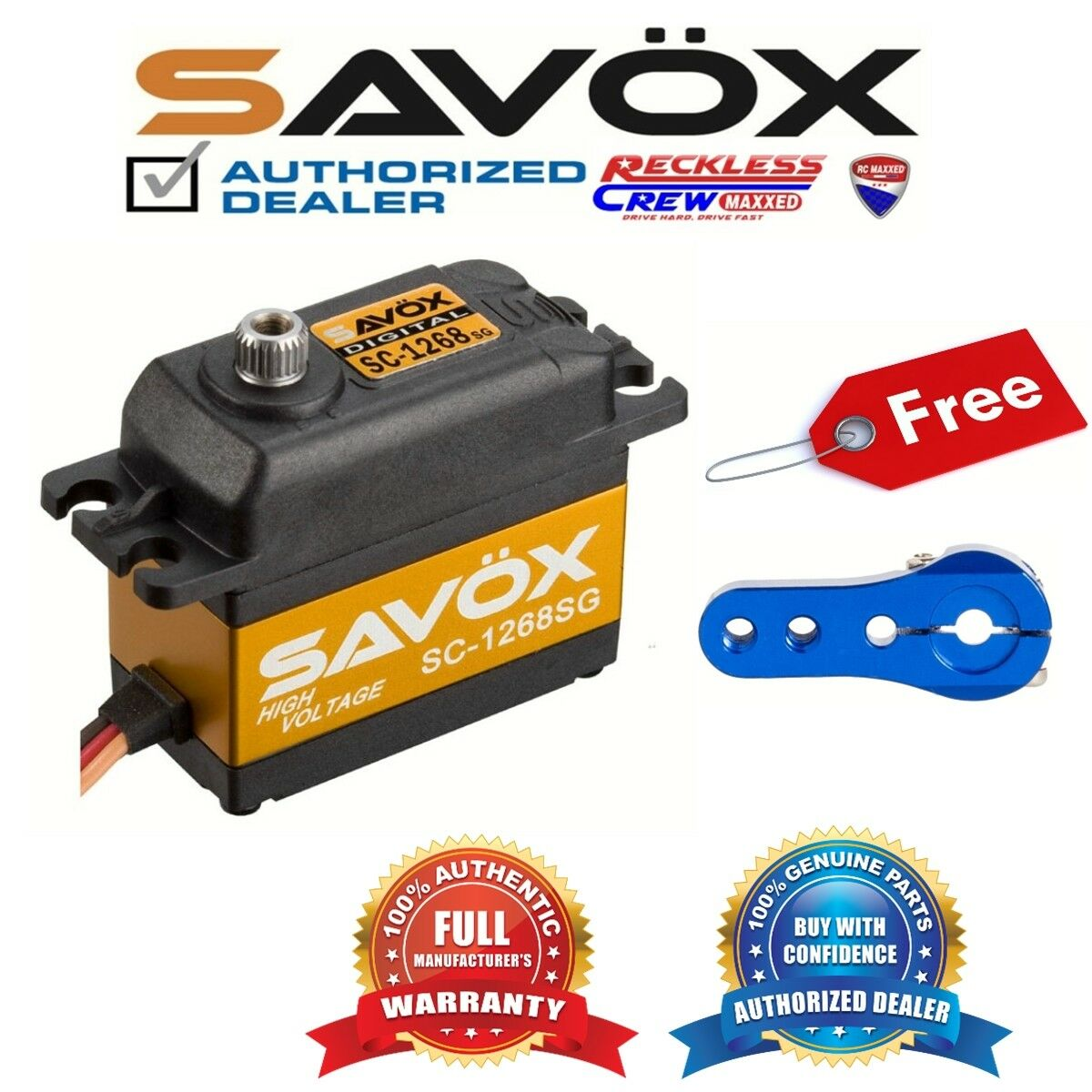 Savox SC-1268SG alto esfuerzo de torsión Digital Servo + Gratis Aluminio Servo Horn Azul