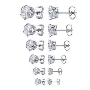 Surgical-316L-Stainless-Steel-Stud-Earrings-Cubic-Zircon-Round-Men-Women-2PC