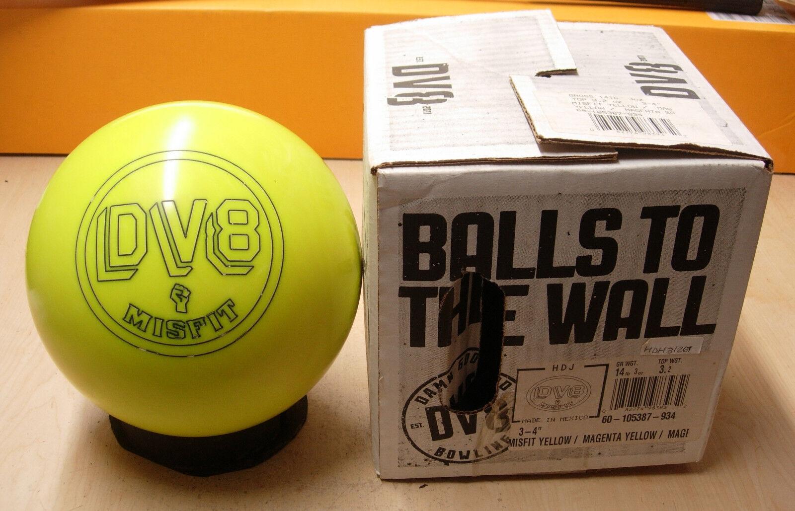14Former Display DV8 2013 MISFIT Neon Yellow Bowling Ball With Original Box