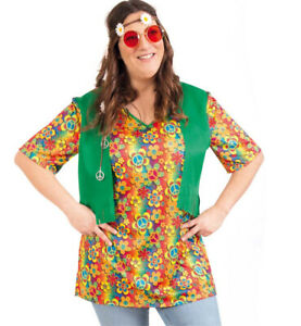 Details zu Kostüm Set Hippie Oberteil Haarband Brille Starke Outfits große Größen 12977513F