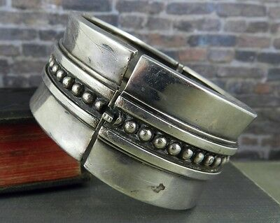 Vintage Margot De Taxco Mexico Wide Sterling Silver Bangle Bracelet