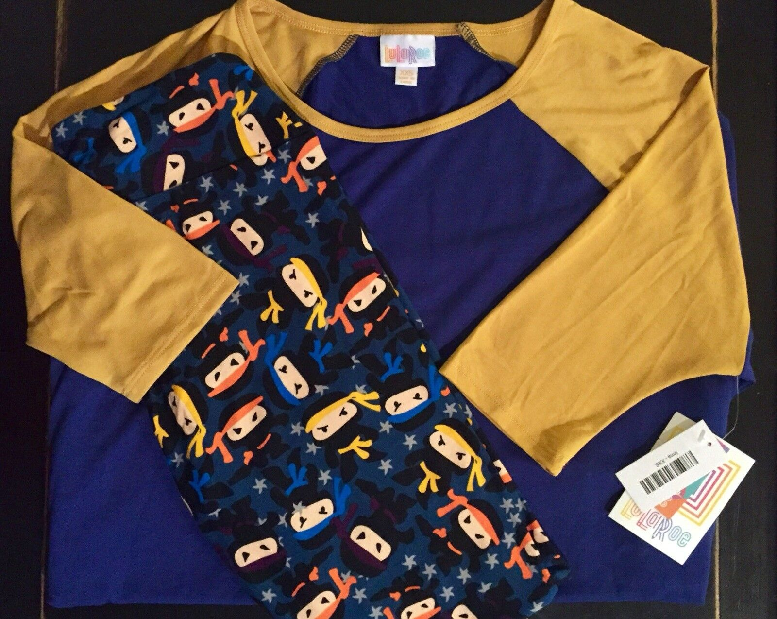 NWT OS LuLaRoe Outfit NINJA Leggings & XXS bluee Yellow BASEBALL Irma Top UNICORN