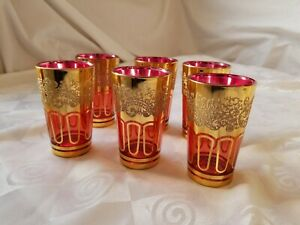 Cranberry-Flash-Juice-Glasses-Moroccan-Gold-Textured-Etched-Rigeree-Set-of-6