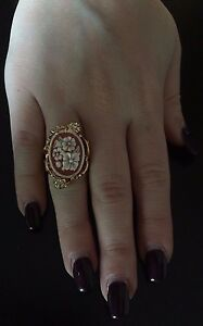 Anello-in-argento-925-dorato-cammeo-CZ-corniola-ring-cameo-flower-Made-in-Italy