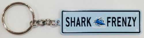 CRONULLA SHARKS SHARK FRENZY NRL METAL KEY RING CHAIN KEYRING