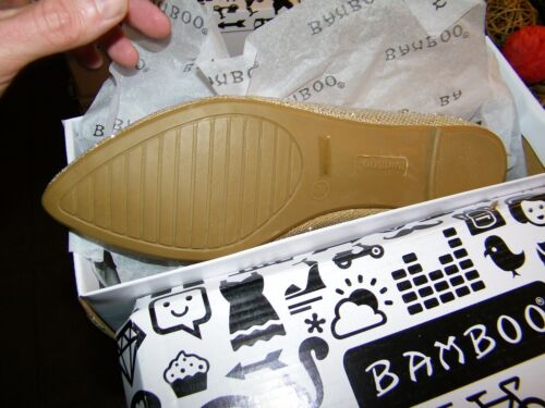 Women Flats Bamboo Object-51 GLDGLT Gold Glitter Shoes Slip on Size 8.5
