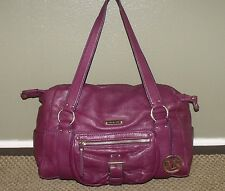 MICHAEL KORS Large Purple Leather Satchel Handbag Shoulder Bag Purse