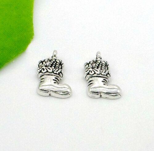 50Pcs Tibetan Silver Christmas Boot Charms Pendentif Fit Bracelet 20x11.5mm