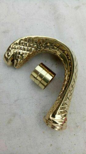 Designer Solid Brass Cobra Head Handle for Walking Stick Cane Shaft W//Accessoris