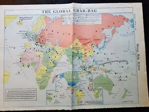 Details about World War 2 Map - The Global Grab Bag - Aug. 5 1946 Chicago  Tribune