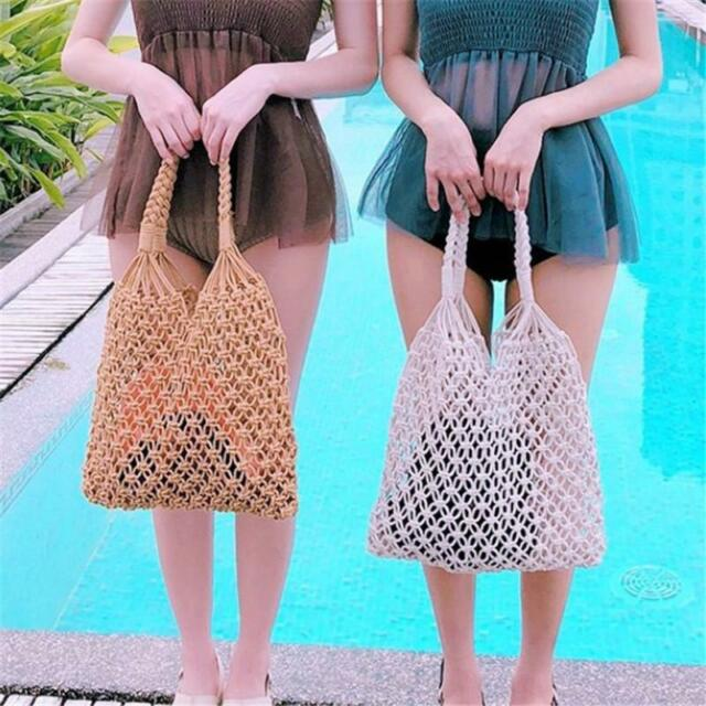 Beldi Basket Brown Leather Storage Beach Tote Shopper Straw Holiday Bag Small