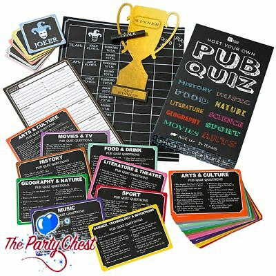 HOST YOUR OWN PUB QUIZ PARTY GAME Cards Answer Pads Scoreboard Trophy Family Fun