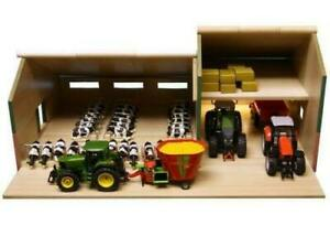 New-Kids-1-32-Stable-with-Farm-Shed-Cow-Milking-Wooden-Gift-For-Children-Item-ZW