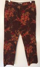 Real Clothes Saks Fifth Avenue Burgundy Floral Jeans Sz 16 EUC