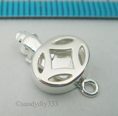 1x BRIGHT STERLING SILVER DOUBLE PUSH LOBSTER CLASP 13.5mm #419