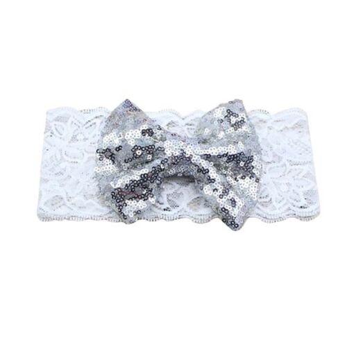 Cute Bow Lace Headband Girl Headband Kids Turban Sequin Hair Accessories D