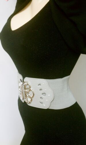 Elegant /&Stylish High /&Low Waist Elastic Cream Belt W// Metal Buckle Lock  S M L
