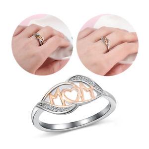 Mujer-Anillos-18k-oro-rosa-joyeria-MOM-esterlina-amor-anillo-madre-dos-tonos