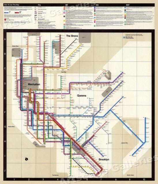 14x24 New York City 1918 Subway Map MTA Historic Map