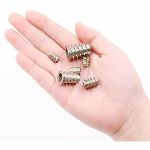 80Pcs 6 Size Zinc Alloy Hex Socket Threaded Insert Nuts Assortment Kit For Wood