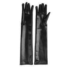 1 Pair Sexy Lingerie Black Wetlook Shining Spandex CLUBWEAR Long Gloves