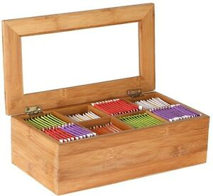 Bamboo Tea Bag Storage Box Wooden 8 Equally Compartments Organizer