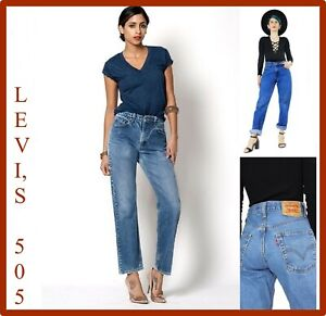 levi's 505 jeans levis pantaloni donna vita alta nuovi boyfriend vintage w27 w28