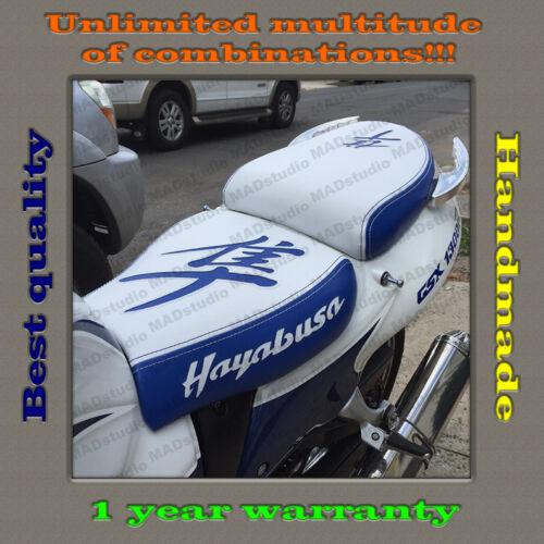 CUSTOM Design Seat Cover Suzuki Hayabusa 99-07 white-blue+blue-white 001