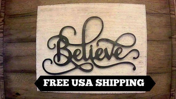 Believe, Wood, Wall Plaque, Sign, Christian Decor, Handmade, New Farmhouse decor