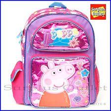 "Peppa Pig Girls 16"" Large  School Backpack  Book Bag"