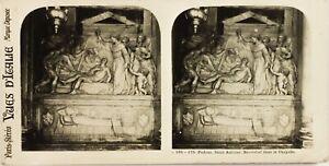 Italia Padova Bassorilievo Cappella Dei Scrovegni, Foto Stereo Vintage Analogica