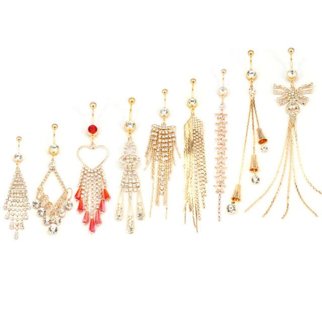 Rhinestone Golden Belly Button Ring Dangle Navel Body Jewelry Piercings Tassenw