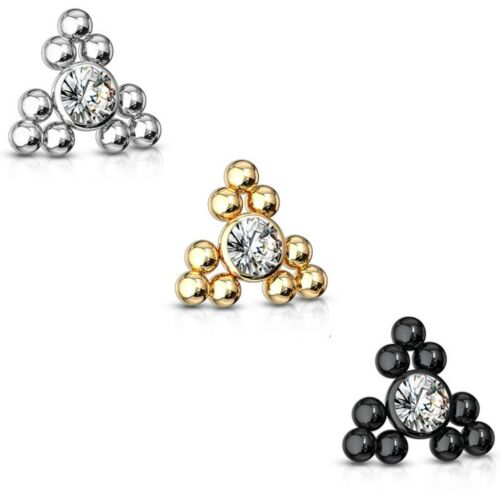 en interne fileté Triangle Boule Cluster Dermal Anchor Top Piercing Jewelry