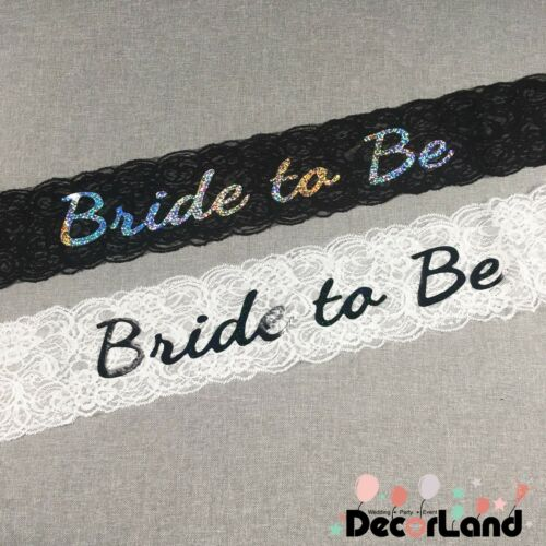 Bride To Be Sash White or Black Lace Sash Engagement Hen Party