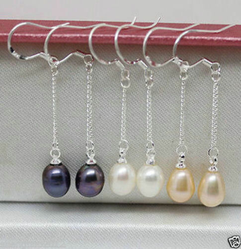 3 Paire 7-8 mm blanc rose noir Real natural pearl silver Hook Boucles d/'oreilles AA