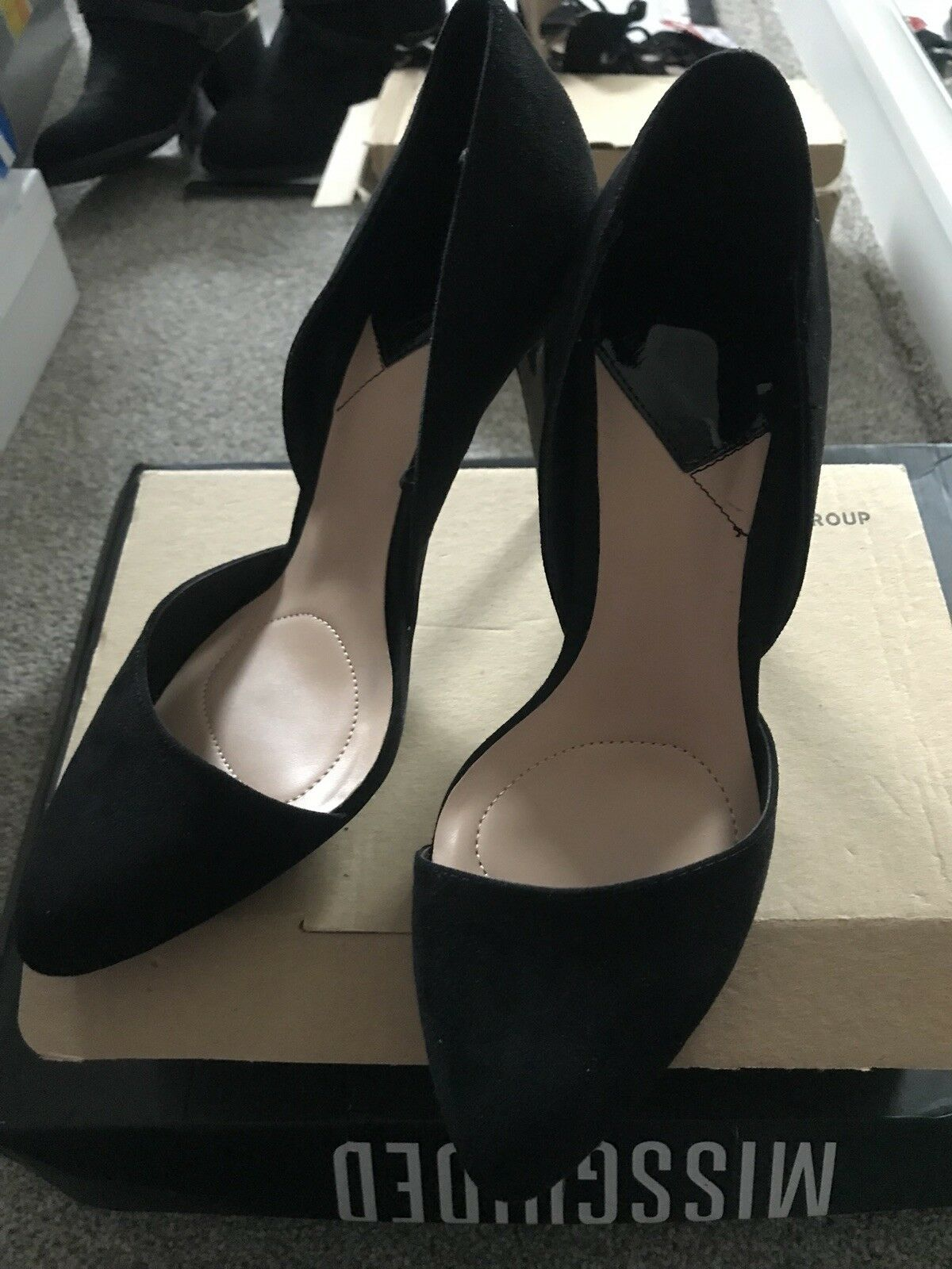 Black Pointed Two Part Suede Heels Size 5 Zara