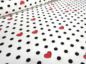 Stoff-Baumwolle-Jersey-Punkte-Herzen-weiss-schwarz-rot-Kinderstoff-Kleiderstoff