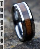 Genuine Koa Wood Inlay Mens Tungsten Carbide Wedding Band Ring
