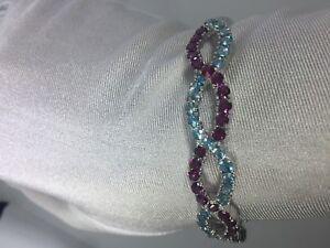 Vintage-Authentique-Bleu-Fluorine-et-Tourmaline-925-Argent-Sterling-Bracelet