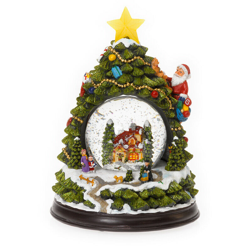 Große 3D Schneekugel Spieluhr LED Stern Licht Weihnachts Musik Box Winter Baum