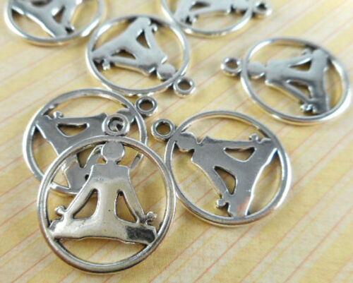 20 Silver Plated Sitting Person Yoga Charms Findings 65180