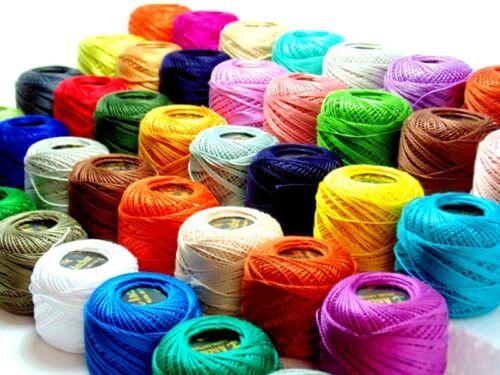 85 metros cada uno Colores Sólidos 40 Bolas De Crochet Algodón Perla Anchor J /& P Talla 8