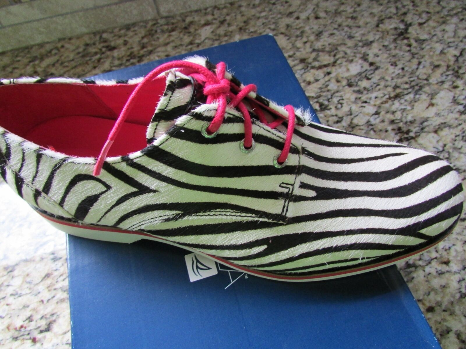 NEW SPERRY TOP-SIDER DELANCEY ZEBRA PRINT OXFORD SHOES Donna 8 FREE SHIP