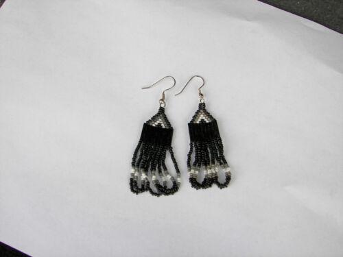 """Seed   Bead  Earrings NEW loop style  black //grey //white  great look 2/"""" long"""