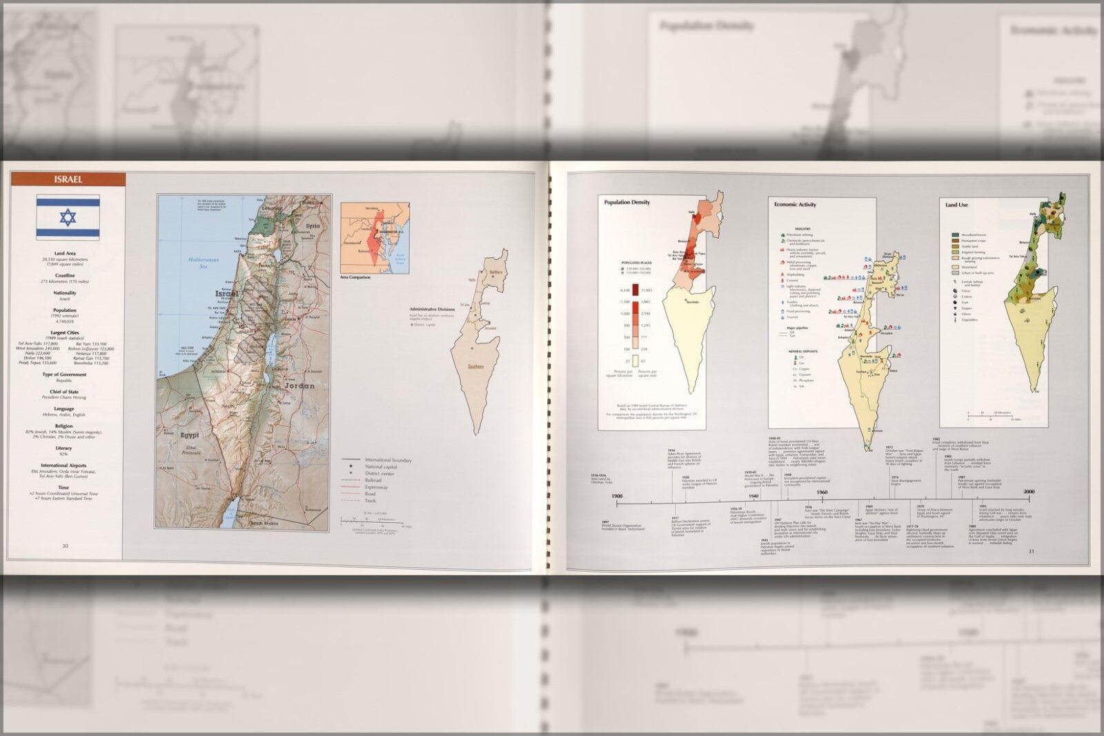 Poster, Molte Misure; Cia Mappa Del Israele