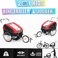 Foldable Bike Trailer 2 Child Bicycle Stroller Children Jogger (red/black) Au