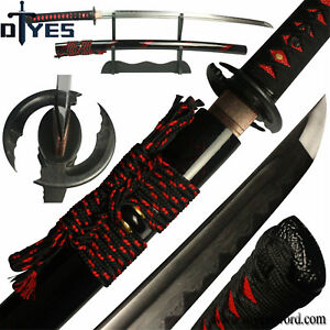 Damascus-Folded-Steel-Clay-Tempered-Blade-Japanese-Samurai-Katana-Sword-Sharp