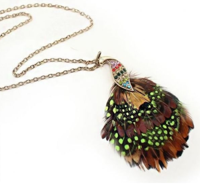 Bronze Multi Colored Peacock Feather Crystal Long Necklace N65