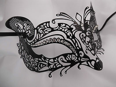 Venetian Style Black Metal Mask Filigree Masquerade  Diamante.PROM//BALL//WEDDING.