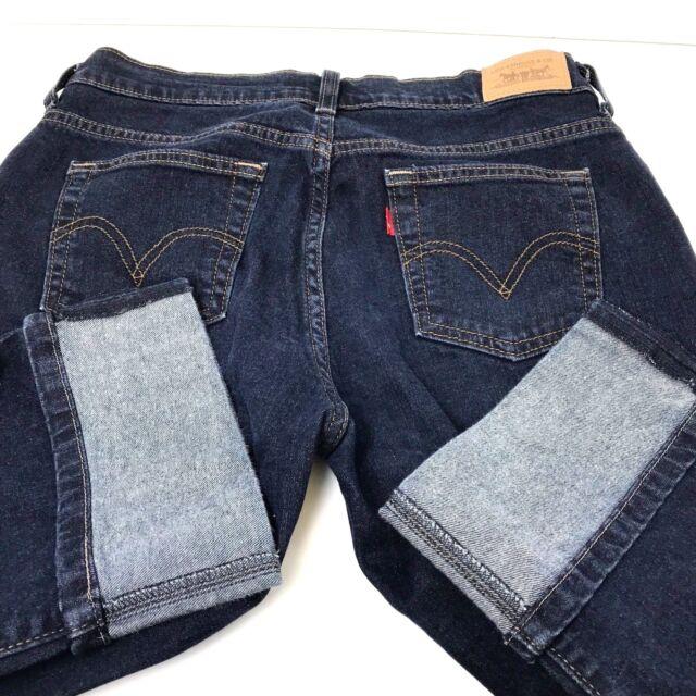 Size 6 LEVIS 515 DENIM CAPRIS Blue Dark Wash ROLLED HEM Jeans Crop Pants Shorts